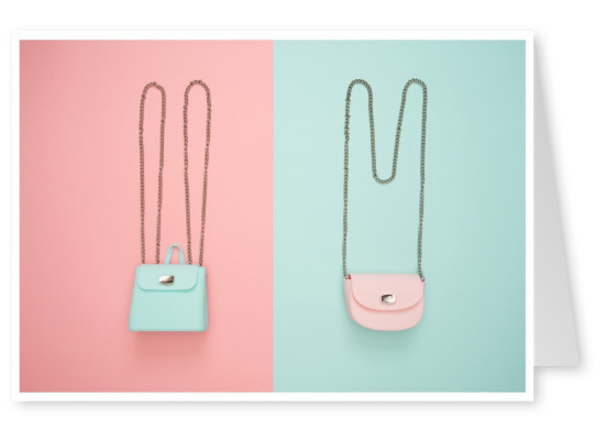 photo handbags with pastel coloured background