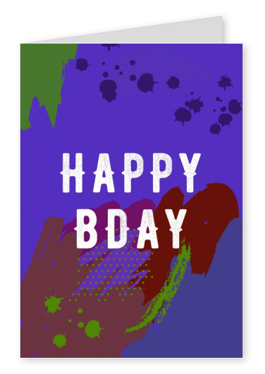Birthday card with colorful background.