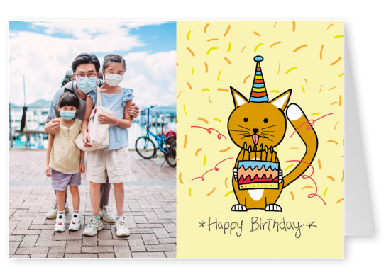 Happy birthday kitten illustration