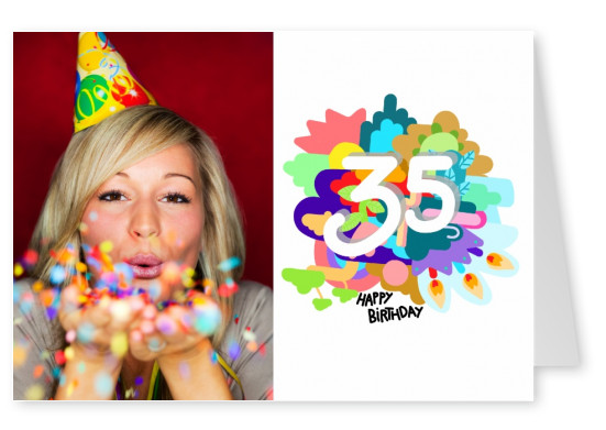 Card with colorful background and happy birthday saying