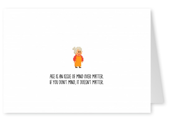 white card with font and granny