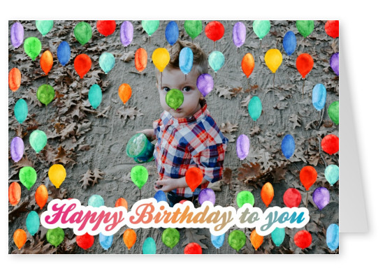 Personalize Card With Place For One Photo And Alot Of Colorful Balloons Lettering Happy Birthday
