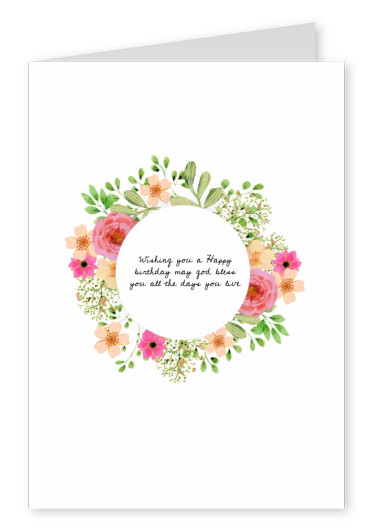 white card with flowers and birthday wishes