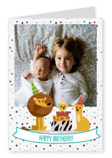 Happy birthday. Lion family with baby.