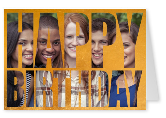 happy birthday in bold lettering on golden background