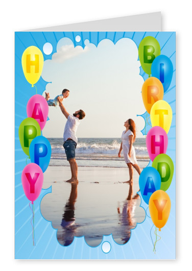 Blue sky with many balloons in bright colours as a border for photo template