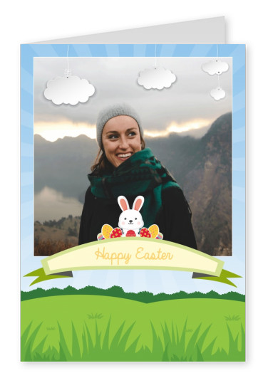 easter bunny and Easter eggs with spring landscape