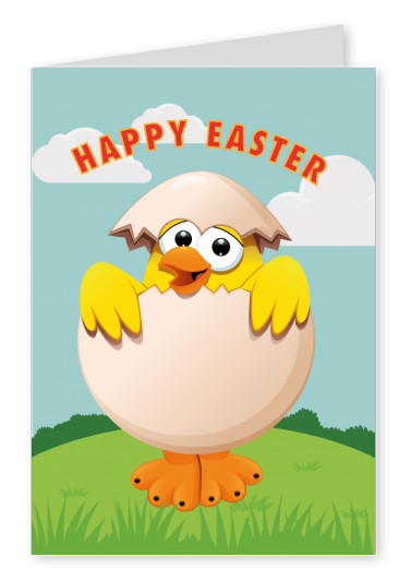happy easter chicken on spring background