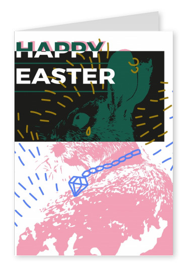 Happy easter modern style with colorful background and pink bunny