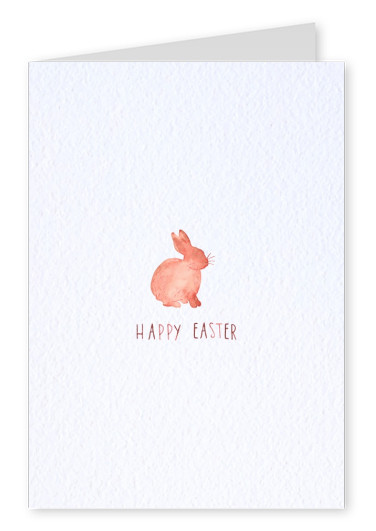 happy easter with red watercolor bunny