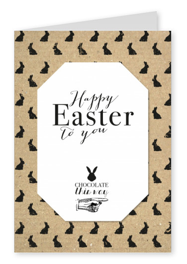 Cardboard card with bunny pattern and white frame