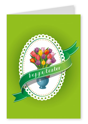 Happy Easter with Tulips and green Background