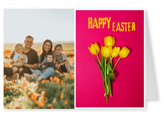 card with yellow tulps and pink background
