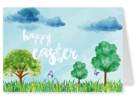 happy easter card with watercolor-spring-landscape background