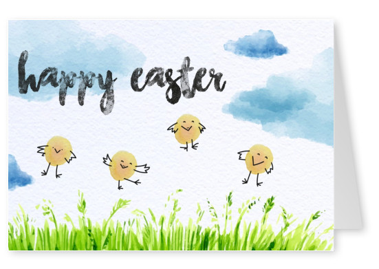 happy Easter watercolor style with chicks and landscape