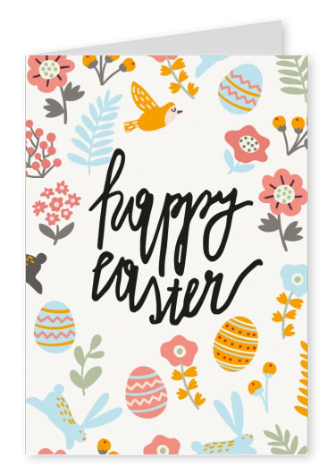 happy easter card with pattern