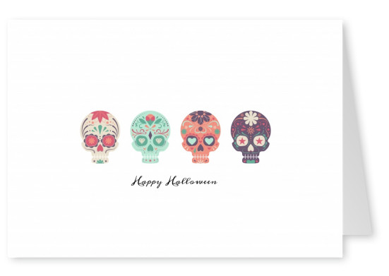 white card with colorful skulls