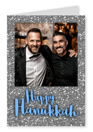 Happy Hanukka with a silver glitter frame