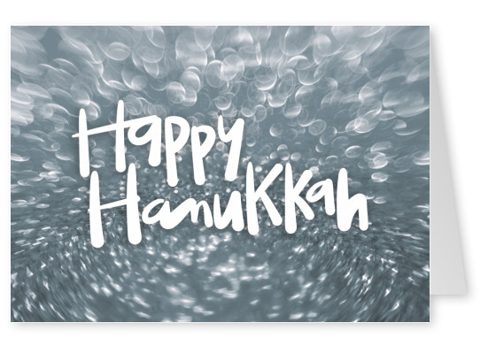 Happy hanukkah, silver background