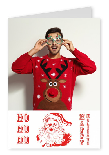 Santa Claus character red on whitw with American college type