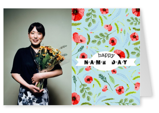 card with blue background and flowers