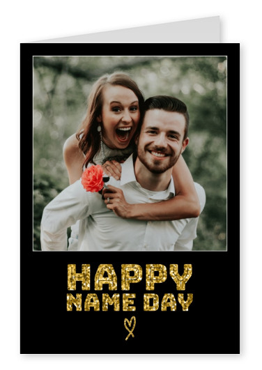 black card with glitter font