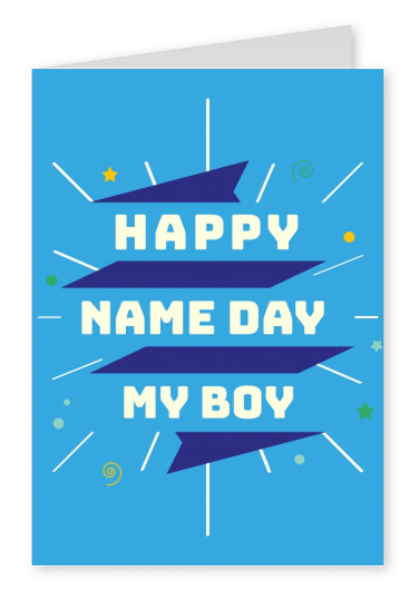 blue card with typography and doodle
