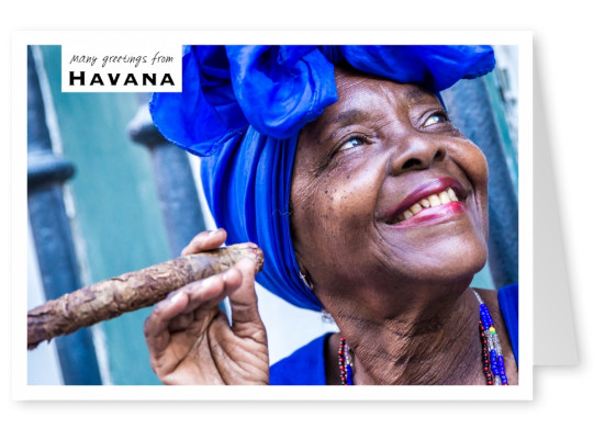 woman with cigar havana postcard
