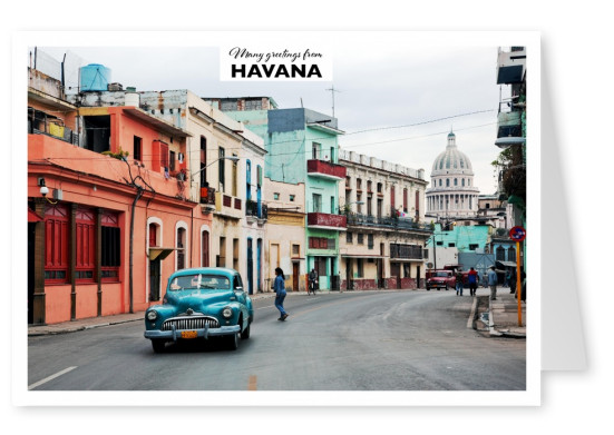 Postcard with photo of Havanas streets