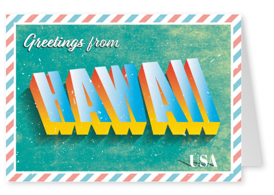 Retro postcard Hawaii, USA