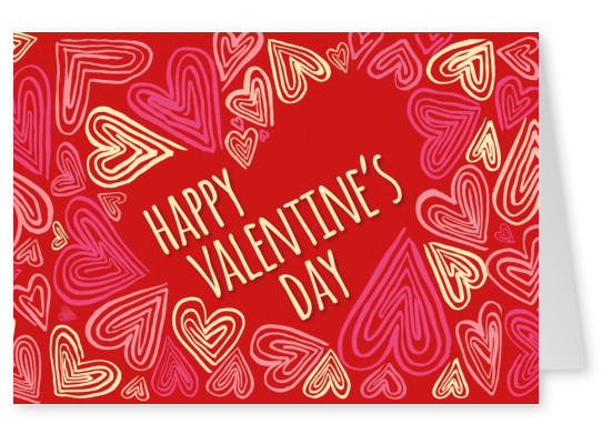 hearts red postcard for valentines day