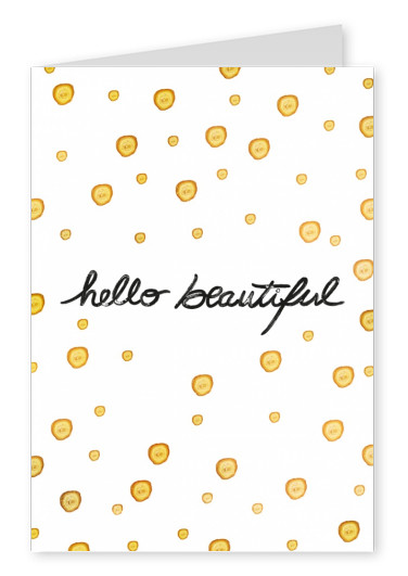 Calligraphy on yellow-white dots–mypostcard