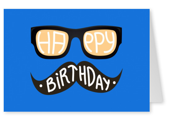 hipster birthday wishes with nerd glasses and moustache (blue)