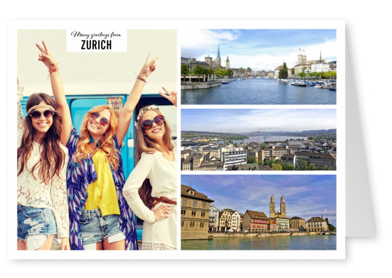 Postcard with 3 photos of Zurich