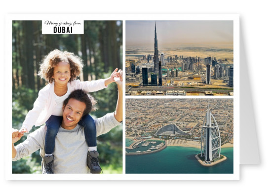 Business quarter of Dubai with skyscrapers in two photos