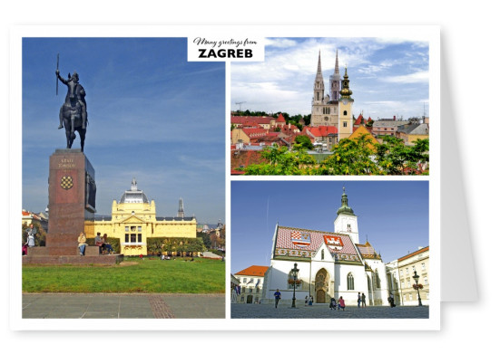Old buildings of Zagreb - St. Mark's church and National theater
