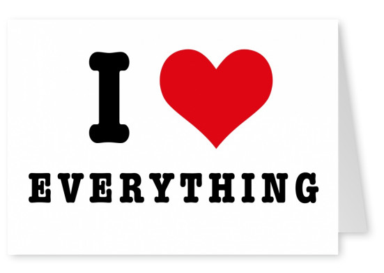i love everything red heart postcard