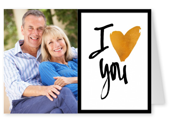 I heart you in black ink calligraphy with golden heart–mypostcard