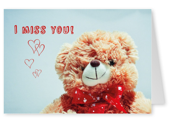 fluffy teddy-bear with red ribbon, illustrated hearts and the message i miss you