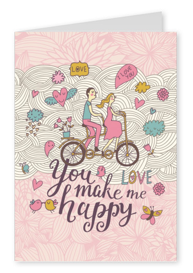 illustration vintage you make me happy postcard