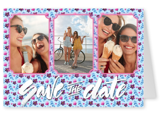 White lettering Save the Date on floral pattern.