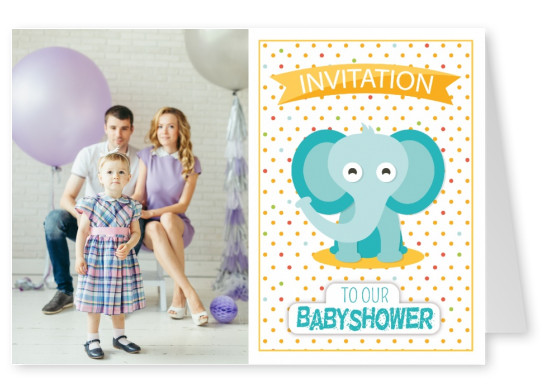 Invitation to our baby shower- Lettering with elephant