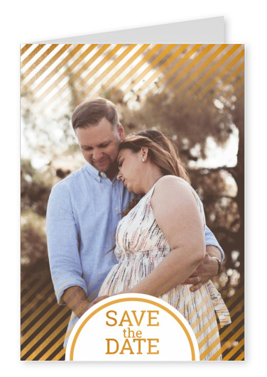 personalize card with golden stripes and text: save the date.
