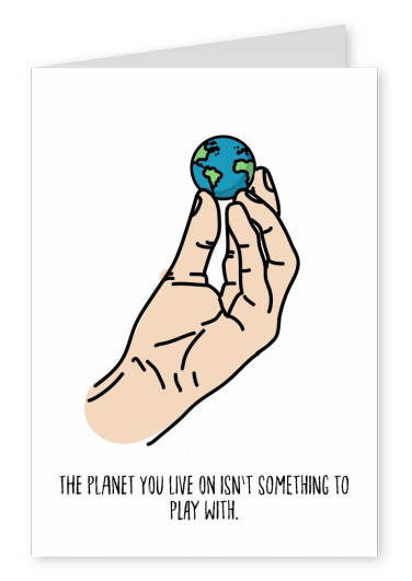 white card with hand and earth on it