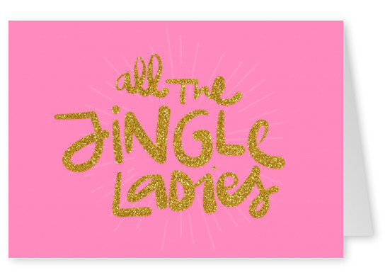 jingle ladies pink card glitter letters - Holiday Cards Online