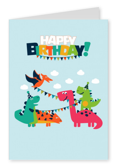 Cute red and green dragons in front of the blue sky under Happy Birthday message