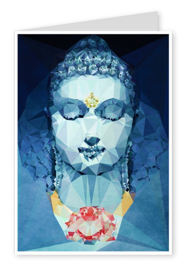 Blue abstract Polygon Buddha with closed eyes