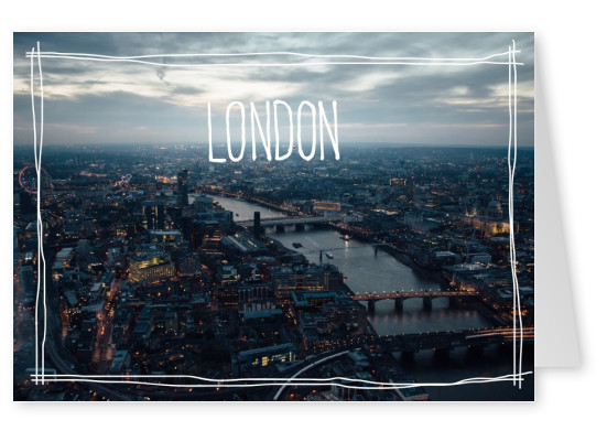 greeting card with photo of London at dawn