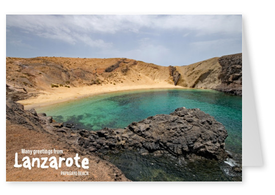 Postcard Lanzarote with photo of Papagayo Beach