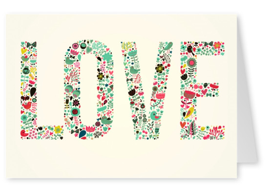 love letters with small flowers colorful postcard